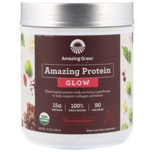 Amazing Grass Amazing Protein Glow | 15 Servings | Chocolate Rose | Protein Powder | Vegan Protein Powder | 15g Of Plant Based Protein