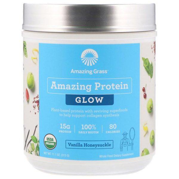 Amazing Grass Amazing Protein Glow | 15 Servings | Vanilla Honeysuckle | Protein Powder | Vegan Protein Powder | 15g Of Plant Based Protein