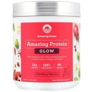 Amazing Grass Amazing Protein Glow | 15 Servings | Wild Berry Hibiscus | Protein Powder | Vegan Protein Powder | 15g Of Plant Based Protein