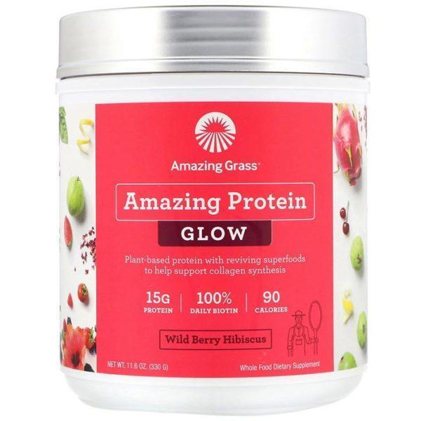 Amazing Grass Amazing Protein Glow | 15 Servings | Wild Berry Hibiscus | Protein Powder | Vegan Protein Powder | 15g Of Plant Based Protein