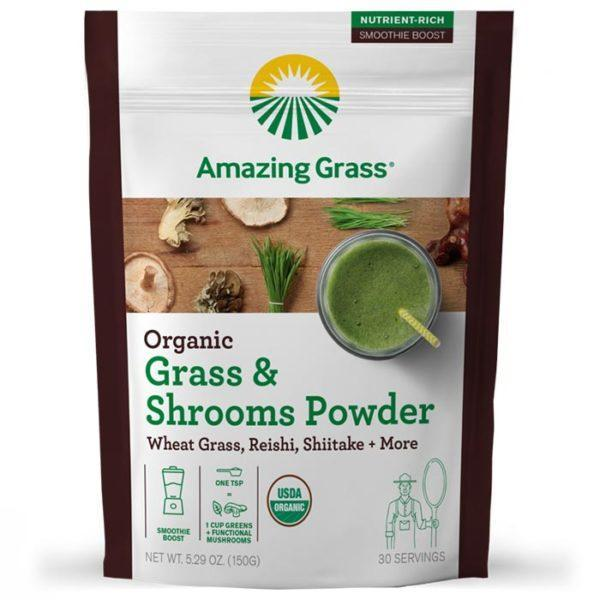 Amazing Grass Mushroom Powder | 30 Servings | Grass & Shrooms | Vegan Superfoods Supplements | Only 15 Calories Per Serving