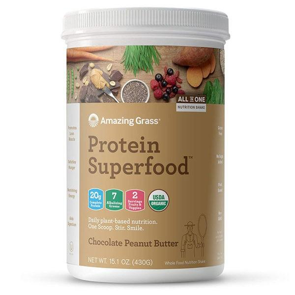 Amazing Grass Protein Superfood | 10 Servings | Chocolate Peanut Butter | Organic Plant-Based Nutrition | Vegan Protein Powder | Suitable For Vegans
