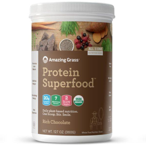 Amazing Grass Protein Superfood | 10 Servings | Rich Chocolate | Organic Plant-Based Nutrition | Vegan Protein Powder | Suitable For Vegans