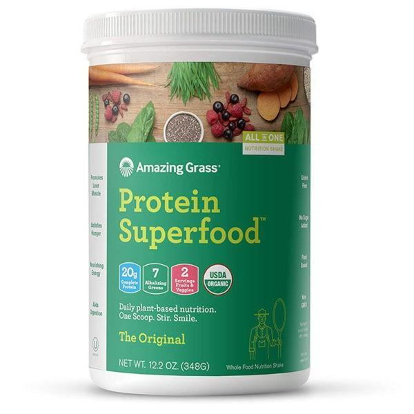 Amazing Grass Protein Superfood | 12 Servings | Original | Organic Plant-Based Nutrition | Vegan Protein Powder | Suitable For Vegans