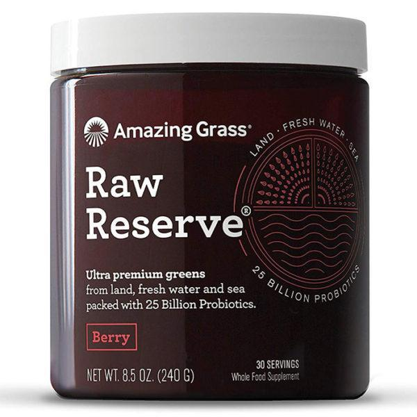 Amazing Grass Raw Reserve | 30 Servings | Berry | Premium Greens With Probiotics | Packed With 25 Billion Probiotics