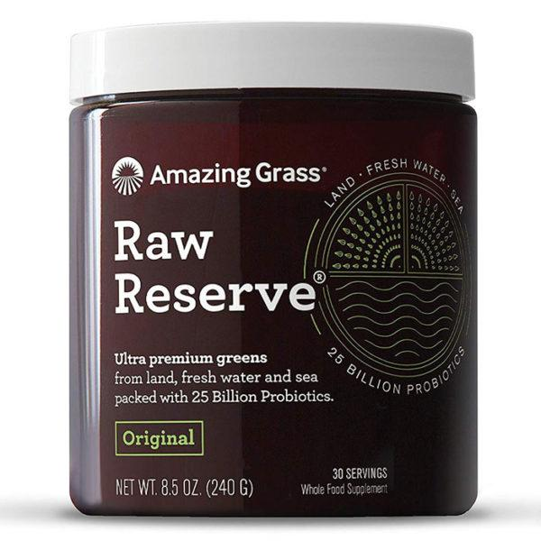 Amazing Grass Raw Reserve | 30 Servings | Original | Premium Greens With Probiotics | Packed With 25 Billion Probiotics