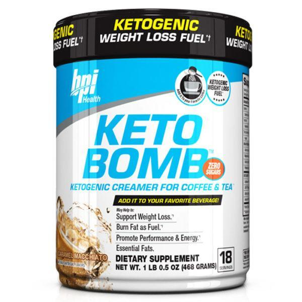 BPI Sports Ketobomb Fat Burner | 18 Servings | Caramel Macchiato | Non-Stimulant Fat Burners | Can Be Added To Tea, Coffee Or Your Favourite Beverage
