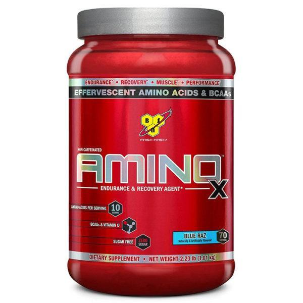 BSN Amino X Intra-Workout | 70 Servings | Blue Raspberry | Recovery Aid | BCAA & Essential Amino Acids | Enhances Muscle Recovery