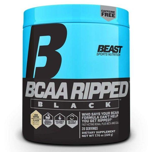 Beast Sports Nutrition BCAA Ripped Black | 20 Servings | Iced Coffee | Intra-Workout | Non-Stimulant Fat Burners | Contains 5g Of Branched Chain