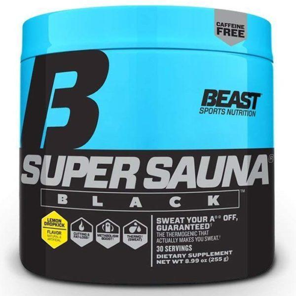 Beast Sports Nutrition Super Sauna Black | 30 Servings | Lemon Dropkick | Fat Burner | Non-Stimulant Fat Burners | Supports Enhanced Thermogenesis