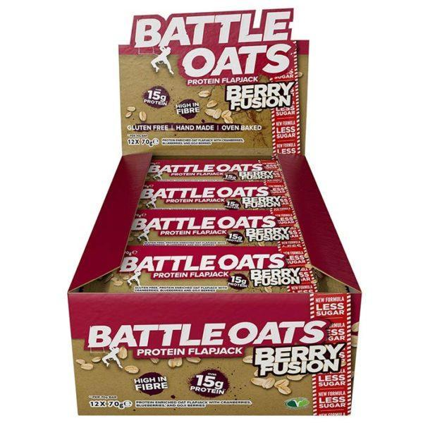 Icon Nutrition Battle Oats | 12 Bars | Berry Fusion | Protein Flapjacks | Protein Bars | A Better Quality Protein Flapjack