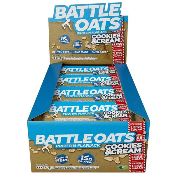 Icon Nutrition Battle Oats | 12 Bars | Cookies & Creme | Protein Flapjacks | Protein Bars | A Better Quality Protein Flapjack