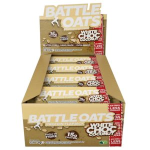 Icon Nutrition Battle Oats | 12 Bars | White Chocolate & Coconut | Protein Flapjacks | Protein Bars | A Better Quality Protein Flapjack
