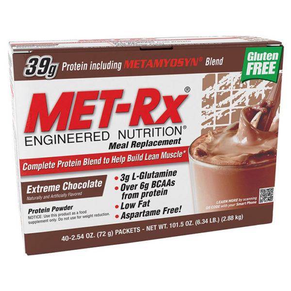 MET-Rx Metrx Original Meal Replacement | 18 Packs | Extreme Chocolate | Superb Amino Acid Profile | Protein Drinks | 38g Protein Per Serving