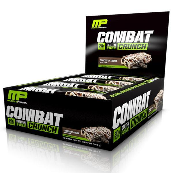 MusclePharm Combat Crunch Bars | 12 Bars | Cookies & Cream | Build Lean Muscle Fast | Protein Bars | The Number 1 Selling Protein Bar At Predator