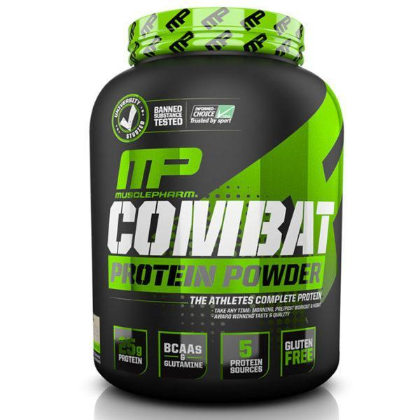 MusclePharm Combat Protein Powder | 1800g | Banana | BCAA's & Glutamine | Time Release Formula Leads To Protein Being Released For Up To Eight Hours