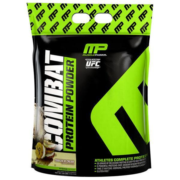 MusclePharm Combat Protein Powder | 4540g | Cookies & Cream | BCAA's & Glutamine | Time Release Formula Leads To Protein Being Released For Up To