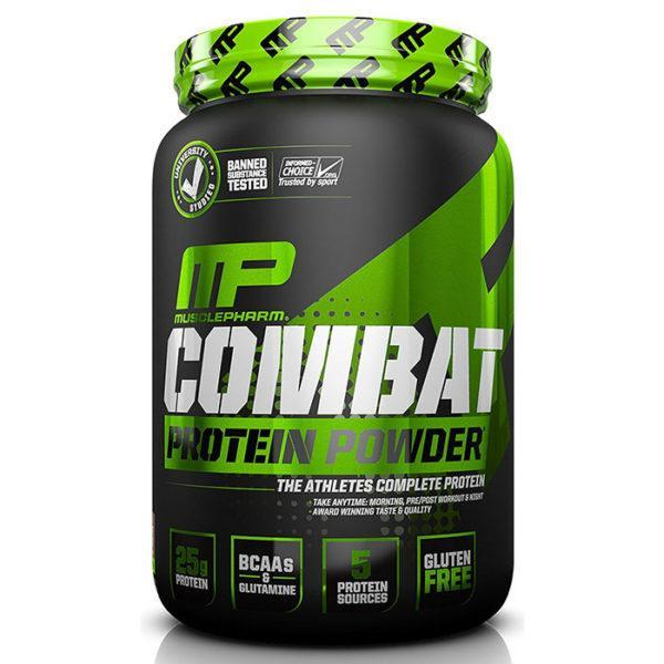 MusclePharm Combat Protein Powder | 907g | Chocolate | BCAA's & Glutamine | Time Release Formula Leads To Protein Being Released For Up To Eight Hours