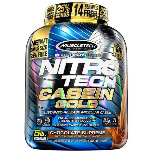 Muscletech Nitro-Tech Casein Gold | 2200g | Creamy Vanilla | Protein Powder | Delivers 24g Of High Quality Protein