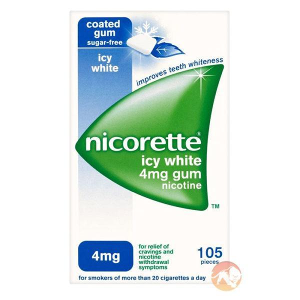 Nicorette Icy White 4mg Gum | 105 Pieces | Fat Burner | Fat Burners | Refreshing Icy White Flavour