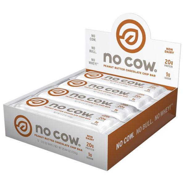 No Cow Bars | 12 Bars | Peanut Butter Chocolate Chip | Natural & Vegan Protein Bars | A Runaway Success In The United States Now Available In The UK