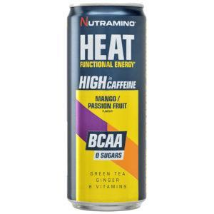 Nutramino Heat BCAA | 24 Cans | Mango Passion Fruit | Functional Caffeine Drink | BCAA & Essential Amino Acids | Low Calorie Energy Drink