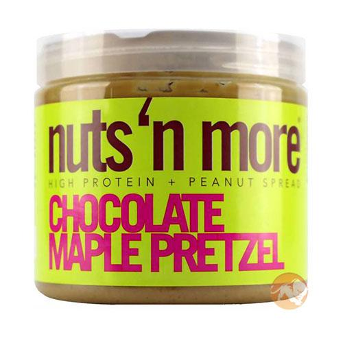 Nuts 'N More Chocolate Maple Pretzel Peanut Butter | 454g | Nut Butters & Spreads | All Natural High Protein Peanut Butter Snack