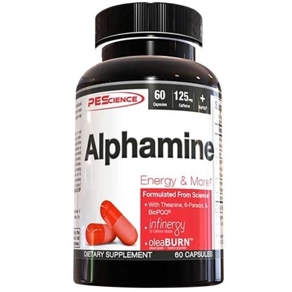 PEScience Alphamine Capsules | 60 Capsules | Thermogenic Fat Burner | Fat Burners | Research Backed Ingredients