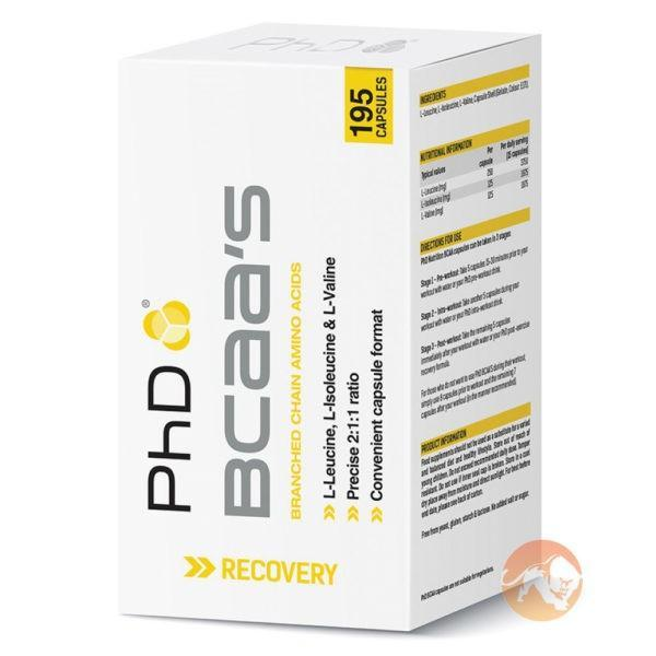 PHD Nutrition BCAA's | 195 Capsules | BCAA Capsules | BCAA & Essential Amino Acids | Triggers Muscle Protein Synthesis