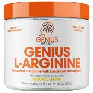 The Genius Brand Genius L-Arginine UK | 30 Servings | Natural Lemon | Pre-Workout Supplements | Amino Acid Responsible For Nitric Oxide Production