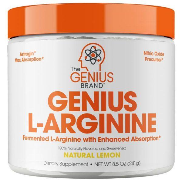 The Genius Brand Genius L-Arginine UK | 30 Servings | Natural Lemon | Pre-Workout Supplements | Amino Acid Responsible For Nitric Oxide Production