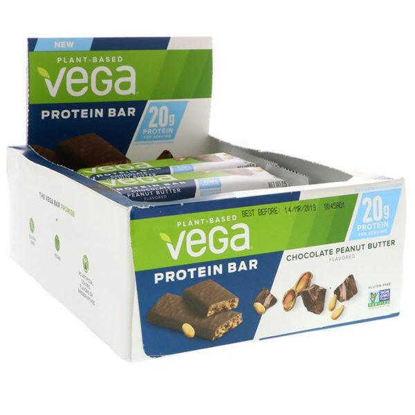 Vega Protein Bar | 12 Bars | Chocolate Peanut Butter | 20g Vegan Protein | Protein Bars | Suitable For Vegans