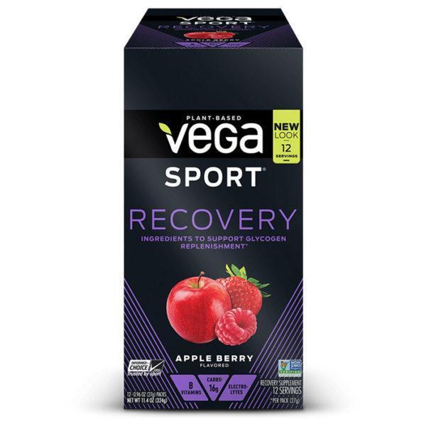 Vega Sport Recovery | 12 Sachets | Apple Berry | Vegan Carbohydrate Supplement | Carbohydrate Supplements | Helps To Replenish Muscle Glycogen Levels