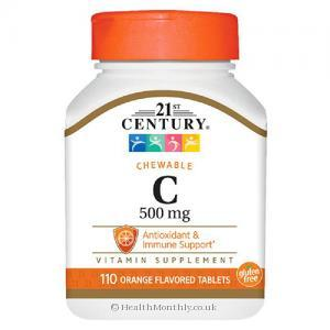 21st Century Chewable Vitamin C (Orange Flavour, 500mg, 100 Chewables)