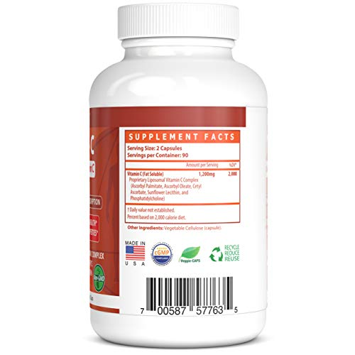 Liposomal Vitamin C - 1200mg - 180 Veggie Caps - Proprietary Liposomal C Complex with Phosphatidylcholine (PC) from Sunflower Lecithin