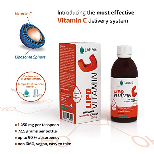 LIPOVITAMIN C® Liposomal Vitamin C Liquid - Highest Dose 1,450 milligrams - Liposome Encapsulated Supplement. High Strength and Absorption - Maximum Availability - No Intestinal Discomfort - Non GMO