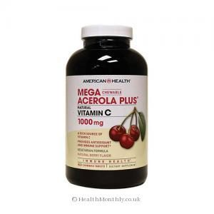 American Health Mega Acerola Plus Vitamin C (Berry Flavour, 1000mg, 60 Chewable Tablets)