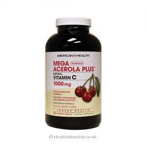 American Health Mega Acerola Plus Vitamin C (Berry Flavour, 1000mg, 60 Chewable Tablets)