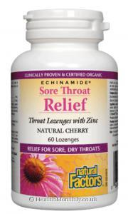 Natural Factors Echinamide Sore Throat Relief (Natural Cherry, 60 Lozenges)