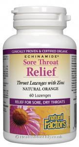 Natural Factors Echinamide Sore Throat Relief (Natural Orange, 60 Lozenges)
