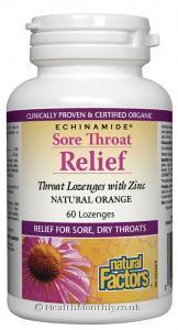 Natural Factors Echinamide Sore Throat Relief (Natural Orange, 60 Lozenges)