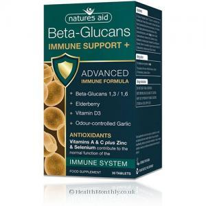 Natures Aid Immune Support+ (with Beta-Glucans, Ester-C, & Elderberry, 30 Tablets)