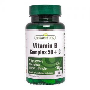 Natures Aid Vitamin B Complex 50 Vitamin C (50mg, 30 Time Release Vegan Tablets)