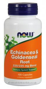 Now Foods Echinacea & Goldenseal Root (225/225mg Blend, 100 Capsules)