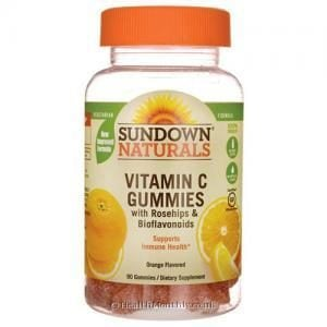 Sundown Naturals Vitamin C Gummies (with Rose Hips and Bioflavonoids, Orange Flavour, 90 Gummies)