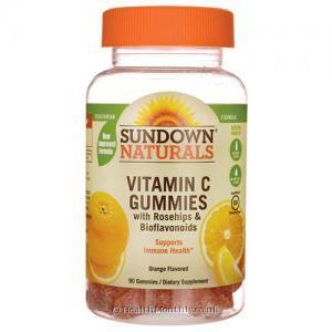 Sundown Naturals Vitamin C Gummies (with Rose Hips and Bioflavonoids, Orange Flavour, 90 Gummies)