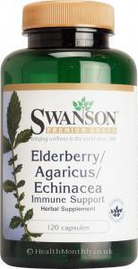 Swanson Elderberry, Agaricus & Echinacea (120 Capsules)