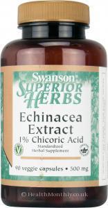 Swanson Herbs Echinacea Extract, 1% Chicoric Acid (500mg, 90 Vegetarian Capsules)