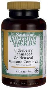 Swanson Herbs Elderberry, Echinacea & Goldseal Immune Complex (120 Capsules)