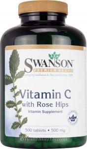 Swanson Vitamin C with Rose Hips (500mg, 500 Tablets)